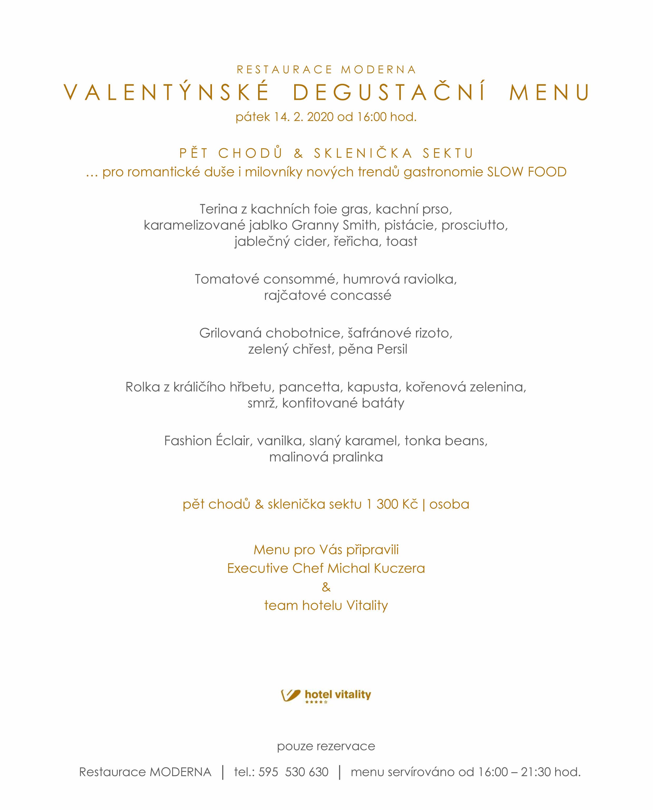 Valentýnské menu v restauraci Moderna